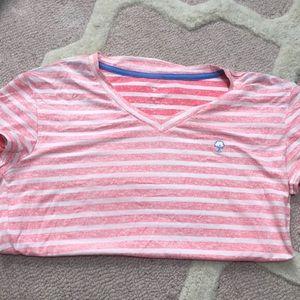 Southern shirt pink stripe neck T-shirt